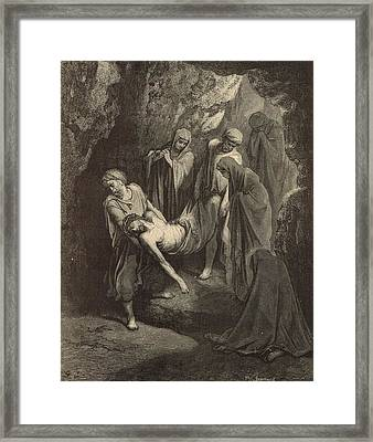 The Burial Of Jesus Framed Print by Antique Engravings