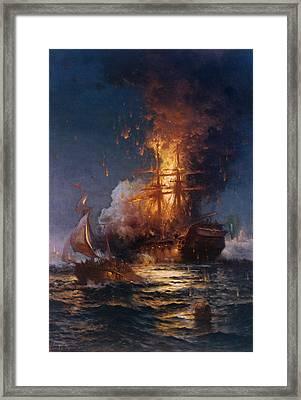 The Burning Of The Philadelphia Framed Print