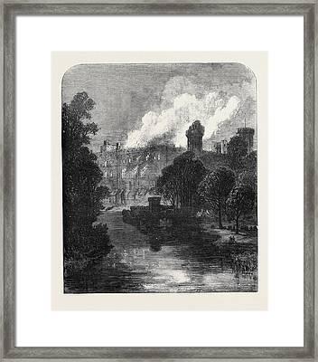 The Burning Of Warwick Castle 1871 Framed Print