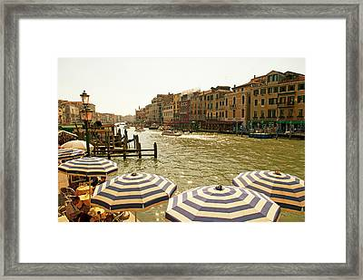The Bustling River Front Along The Gran Framed Print