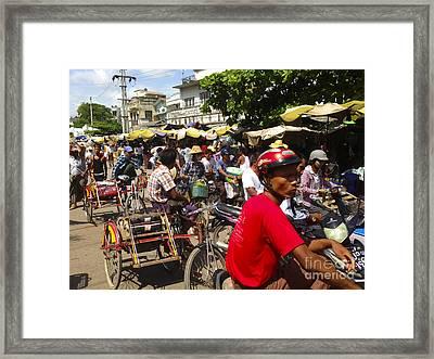 Framed Print featuring the photograph The Bustling Traffic On 27th Street Zay Cho Street Market Mandalay Burma by Ralph A  Ledergerber-Photography