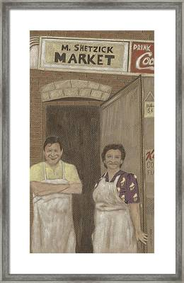Framed Print featuring the drawing The Butcher And His Wife  by Arlene Crafton