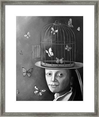 The Butterfly Keeper Bw Framed Print by Leah Saulnier The Painting Maniac