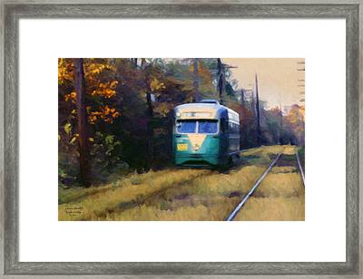 The Cabin John Trolley Framed Print by Spyder Webb