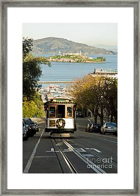 The Cable Car And Alcatraz Framed Print