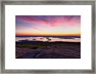The Cadillac Mountain Sunrise Club Framed Print by Jeff Sinon