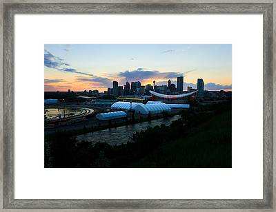 The Calgary Skyline During The Blackout Framed Print by Sean Phillips