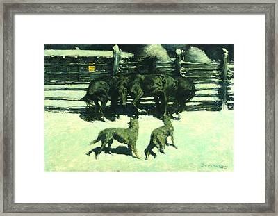 The Call For Help Framed Print by Fredrick Remington