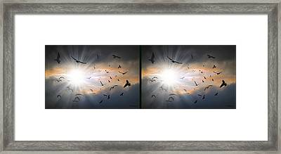 The Call - The Caw - Gently Cross Your Eyes And Focus On The Middle Image Framed Print by Brian Wallace