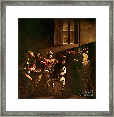 The Calling Of St Matthew Framed Print by Michelangelo Merisi o Amerighi da Caravaggio