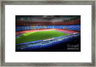 The Camp Nou Stadium In Barcelona Framed Print