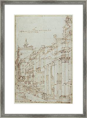 The Campo S. Basso The North Side With The Church Recto Framed Print by Litz Collection