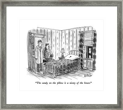 The Candy On The Pillow Is A Nicety Of The House Framed Print