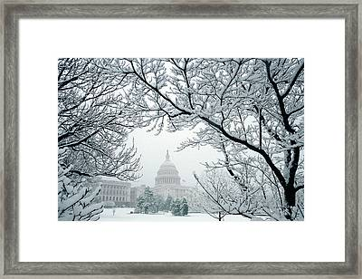 The Capitol In Snow Framed Print by Joe  Connors