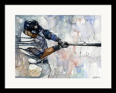 Derek Jeter Mixed Media Framed Prints
