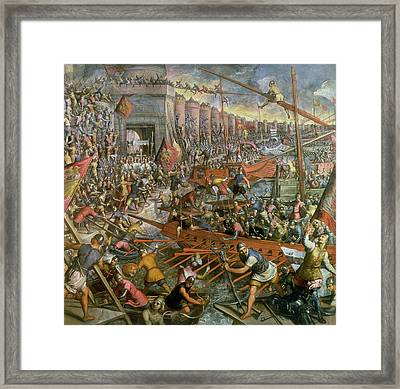 The Capture Of Constantinople In 1204 Framed Print by Jacopo Robusti Tintoretto