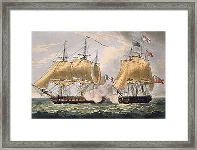 The Capture Of La Clorinde Framed Print by Thomas Whitcombe