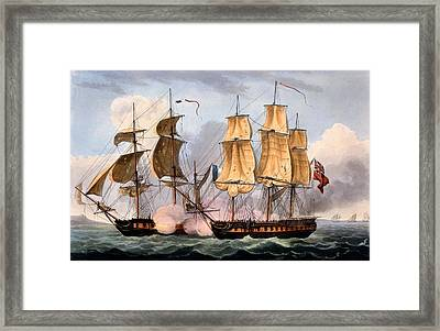 The Capture Of La Confiante Framed Print by Thomas Whitcombe