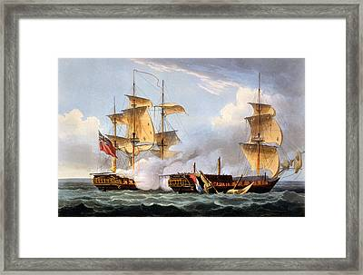 The Capture Of La Vestale Framed Print by Thomas Whitcombe