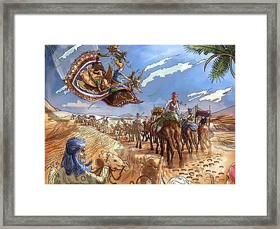 The Caravan In The Sahara Framed Print by Reynold Jay