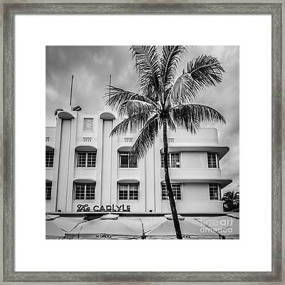 The Carlyle South Beach Miami - Art Deco District - Black And White Framed Print by Ian Monk