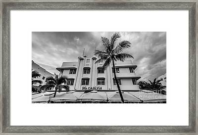 The Carlyle South Beach Miami Panoramic - Art Deco District - Black And White Framed Print by Ian Monk