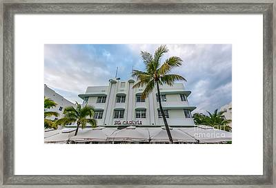 The Carlyle South Beach Miami Panoramic - Art Deco District  Framed Print by Ian Monk