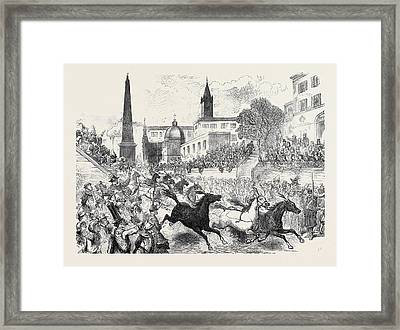 The Carnival In Rome Horse Racing On The Corso 1873 Framed Print