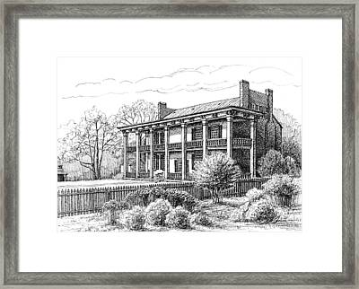 Framed Print featuring the drawing The Carnton Plantation In Franklin Tennessee by Janet King