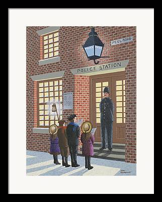 Police Christmas Card Paintings Framed Prints