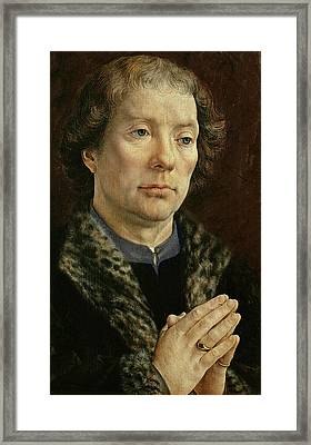 The Carondelet Diptych Left Hand Panel Depicting Jean Carondelet 1469-1545 Dean Of Besancon Church Framed Print by Jan Gossaert
