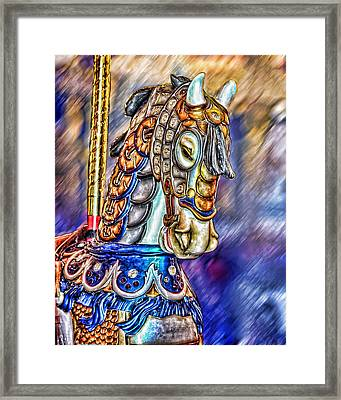 Framed Print featuring the painting The Carousel Horse by Mary Almond