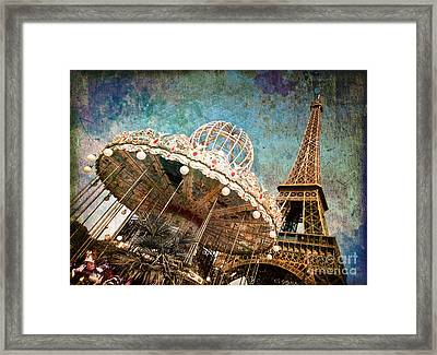 The Carrousel Of The Eiffel Tower Framed Print by Delphimages Photo Creations