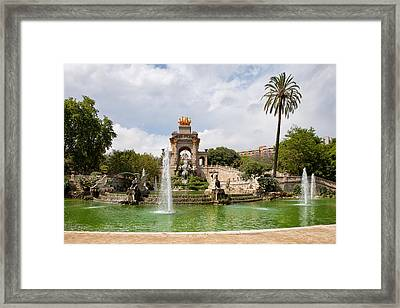 The Cascada In Ciutadella Park In Barcelona Framed Print