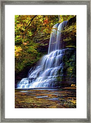 The Cascades Framed Print by Darren Fisher