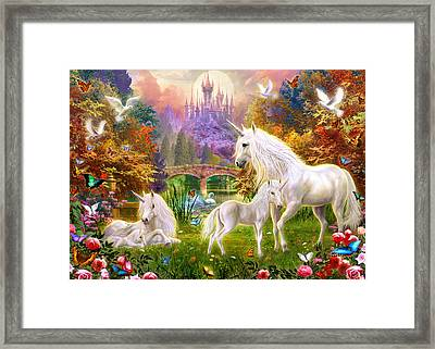 The Castle Unicorns Framed Print