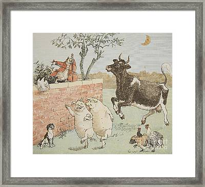 The Cat And The Fiddle Framed Print by Randolph Caldecott