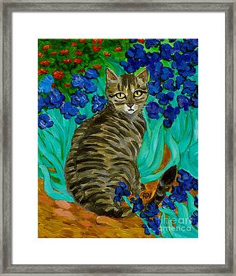 Framed Print featuring the painting The Cat At Van Gogh's Irises Garden by Jingfen Hwu