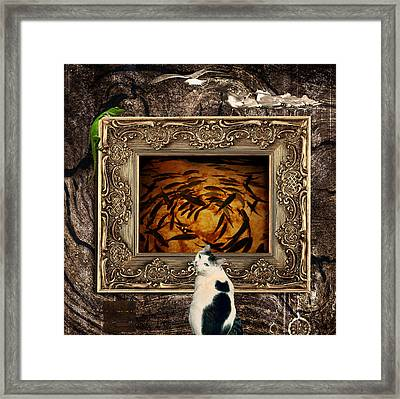 The Cat Framed Print by Elena Mussi