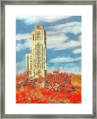 The Cathedral Of Learning At The University Of Pittsburgh Framed Print