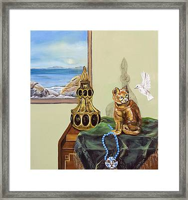 Framed Print featuring the painting The Cat's Meow by Susan Culver