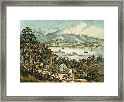 The Catskill Mountains From The Eastern Shore Of The Hudson Framed Print by Currier and Ives