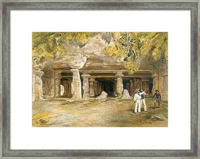 The Cave Of Elephanta, From India Framed Print