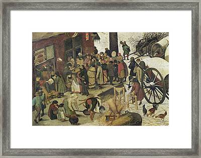 The Census At Bethlehem Framed Print by Bruegel