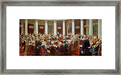 The Ceremonial Sitting Of The State Council 7th May 1901 Framed Print by Ilya Efimovich Repin