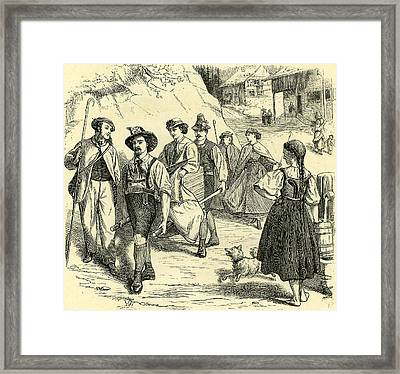 The Chaise--porteur Switzerland Framed Print by Swiss School