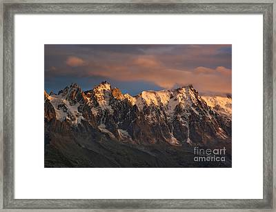 The Chamonix Aiguilles At Sunset Framed Print by Colin Woods