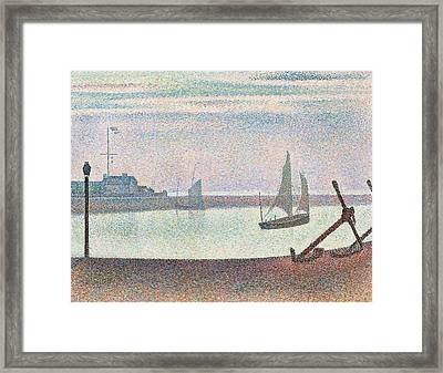 The Channel At Gravelines In The Evening Framed Print