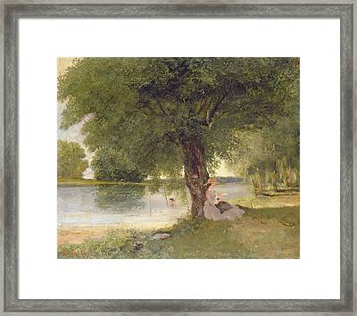 The Charente At Port Bertaud Framed Print by Gustave Courbet