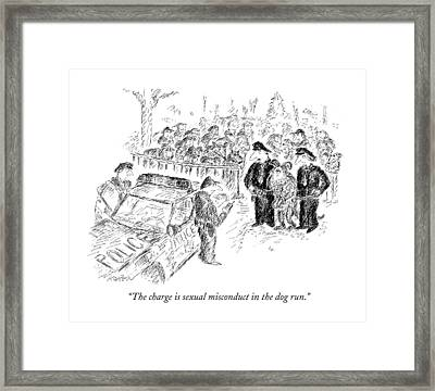 The Charge Is Sexual Misconduct In The Dog Run Framed Print by Edward Koren